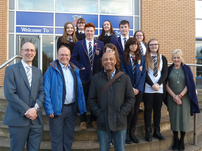 John Swinton with pupils from Bell Baxter High School